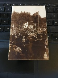 Antique Photo Postcard RPPC-  Crowd of People outdoor Gathering, Possibly Sweden