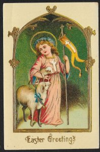 Easter Greetings Angel Lamb & Pennant Unused c1910s