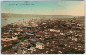 ABERDEEN, Washington WA  Handcolored Birdseye WATER FRONT 1909   Postcard