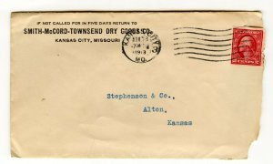 Smith-McCord-Townsend Dry Goods Co. KC MO Vintage Paper Empty Envelope 2¢ Stamp