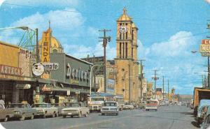 Tijuana Mexico Street Scene and Church Vintage Postcard J66935