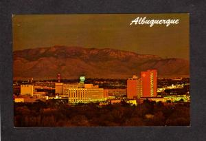 NM Night View Albuquerque New Mexico Postcard Sunset First National Bank Sign