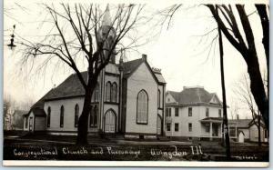 Abingdon, Illinois RPPC Photo Postcard Congregational Church & Parsonage 1910s