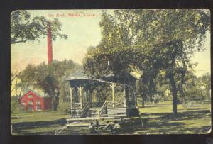 TOPEKA KANSAS CITY PARK DOWNTOWN GAZEBO VINTAGE POSTCARD COLE CAMP MISSOURI
