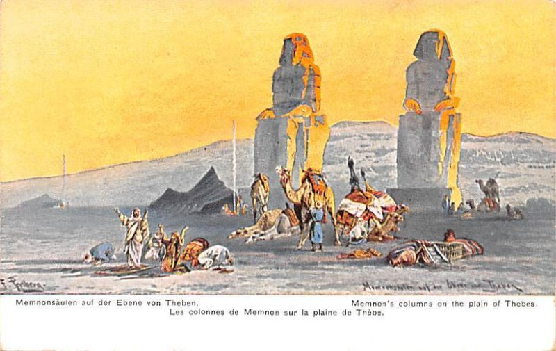 Memnon's Colums on the plain Thebes Egypt, Egypte, Africa Unused