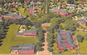 Kingsport Tennessee~Aerial View~Church Cluster~Civic Center~1950 Linen Postcard
