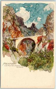 Vintage Menton, France Postcard Bridge Scene Artist-Signed M. WEILANDT Unused