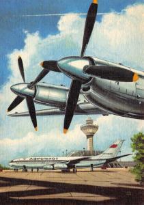 Vintage Linen Aircraft Airline East German Aeroflot Postcard by R. Swoboda 90C