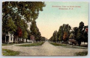 Wahpeton North Dakota~Sixth Street Homes~Houses Both Sides Dirt Road~1912 PC