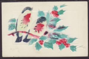 Merry Christmas,Birds,Embossed Postcard