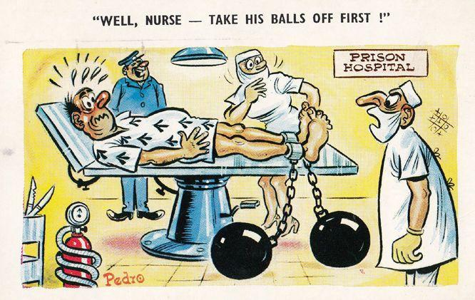 Prison Hospital Doctor Nurse Balls On Chain Risque 1970s Comic Humour Postcard