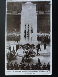 The Unknown Warrior's cortege passes the CENITAPH 11th November 1920 RP Postcard