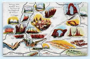 Postcard UT AZ Southern Utah Northern Arizona Map Monuments Parks  1941 H11