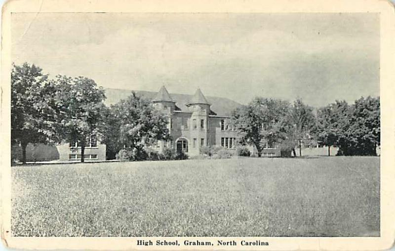 High School Graham North Carolina NC White Border Postcard