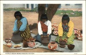 Pueblo Indian Women Making Pottery c1920 Postcard