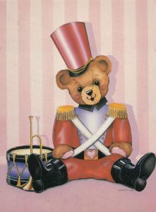 Millitary Toy Teddy Bear With Drumkit Postcard