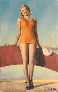 Asheville 1940s Sexy Pin up Girl Bathing Suit linen postcard 9358
