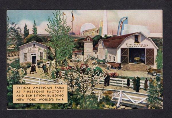 NY American Farm New York 1939 Worlds Fair Firestone Car Tire Exhibit Postcard