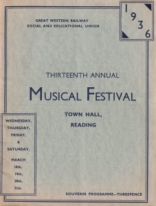 1936 Great Western Railway Reading Music Festival Theatre Programme