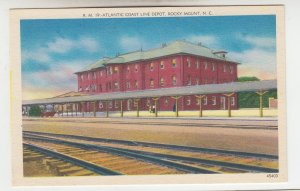 P2020 old postcard atlantic coast line train depot, tracks etc rocky mount N.C.