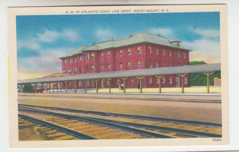 P2020 old postcard atlantic coast line train depot, tracks etc rocky mount N.C.