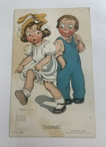 Vintage Artist Signed Postcard  CHESTNUTS  CHILDREN POSTED 1909 GASSAWAY