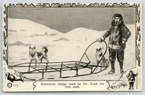 North Pole Expedition~Dr Cook's Aluminum Sledge~Husky Dog Sled~1909 Artist Drawn