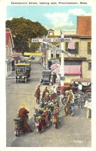 Provincetown MA Commercial  Street Old Cars And Old Motorcycles Postcard