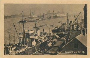 Netherlands Amsterdam Gezicht op het IJ quai ships ferryboats Postcard