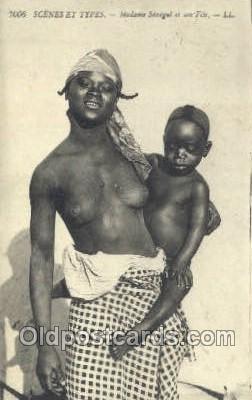 Madame Senegal African Nude 1920 postal used 1920