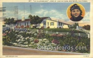 Jane Withers, Westwood Villiage, Los Angeles, CA Movie Star Actress 1938 post...