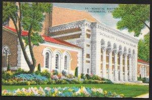 Memorial Auditorium Sacramento California Unused c1930s