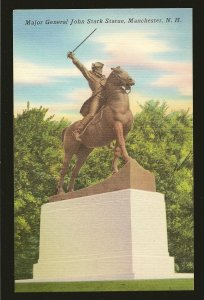 USA Major General John Stark Statue Manchester New Hampshire Linen Postcard