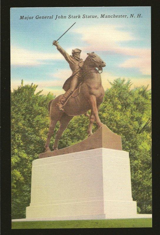 USA Major General John Stark Statue Manchester New Hampshire Linen Postcard
