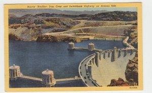 P2197 vintage postcard hover dam crest & switchback highway on arizona side