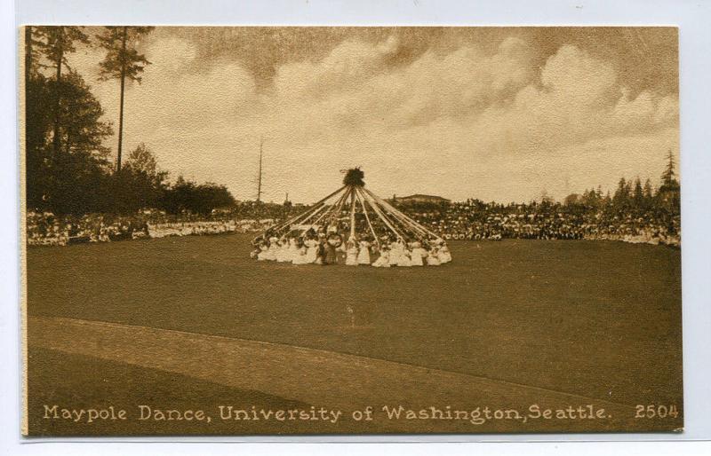 Maypole Dance University of Washington Seattle WA 1910c postcard