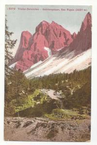 Italy Tyrol Dolomites Geislerspizen Sas Rigais Postcard