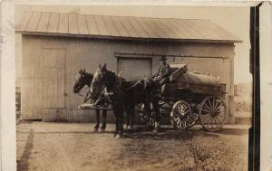 F61/ Geneva Ohio RPPC Postcard 1908 Occupational Wagon Horse Tank Barn