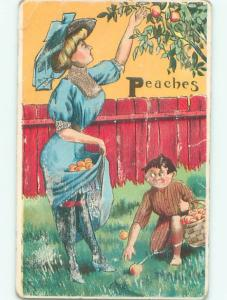 Pre-Linen Risque BOY LOOKS UP SKIRT OF WOMAN PICKING PEACHES AB6061