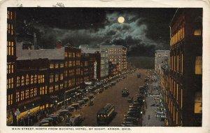 LP63 Akron Ohio Postcard   Main St Night