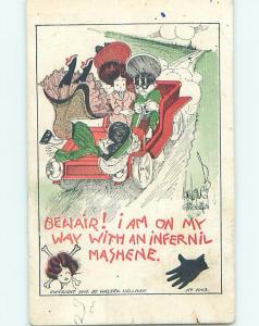 Pre-Linen risque signed UPSKIRT VIEW OF WOMAN IN AN INFERNAL MACHINE CAR HL3746