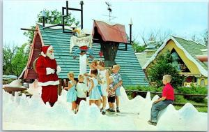 DUNDEE Illinois Postcard SANTA'S VILLAGE Amusement Park Kids w/ Santa North Pole