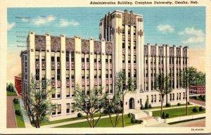 Nebraska Omaha Administration Building Creighton University 1938 Curteich
