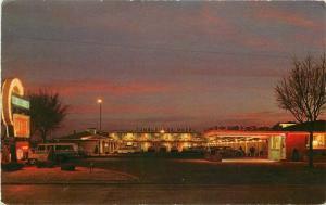Dexter Liberal Kansas Tumbleweed Motel roadside 1960s Postcard Night 4086