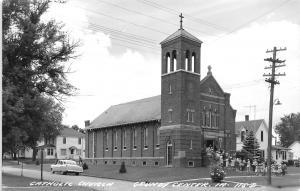 Grundy Center IA Man Takes A Peek At Catholic Church Congregation~RPPC c1950