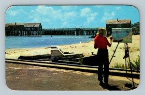 Cape Cod MA, Artist At Work, Chrome Massachusetts c1957 Postcard