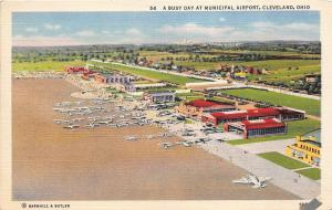 Cleveland Ohio 1940s Postcard Municipal Airport Airplanes Terminal Hangars