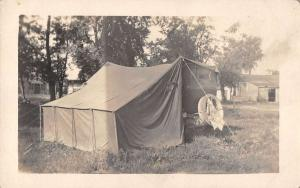 Camping Scene Trailer with Tent Real Photo Antique Postcard J38830
