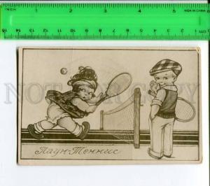 272044 Lawn TENNIS Sport COMIC Vintage RUSSIA Photo card