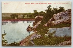 Montevideo Minnesota~Carlton Lake~Fellow Sitting on Rock Promontory~1908 ZIM PC